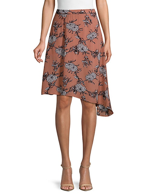 CIRANA Printed Asymmetric Skirt in Blush