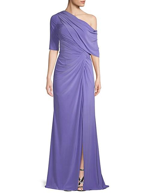 Asymmetrical Neckline Drape Gown