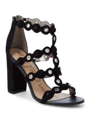 c81c35778836 Sam Edelman Women S Yuli Suede Grommet Block Heel Sandals In Black ...