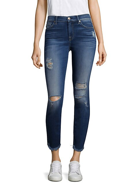 7 FOR ALL MANKIND | Ankle Skinny Ripped Raw-Hem Jeans | Goxip