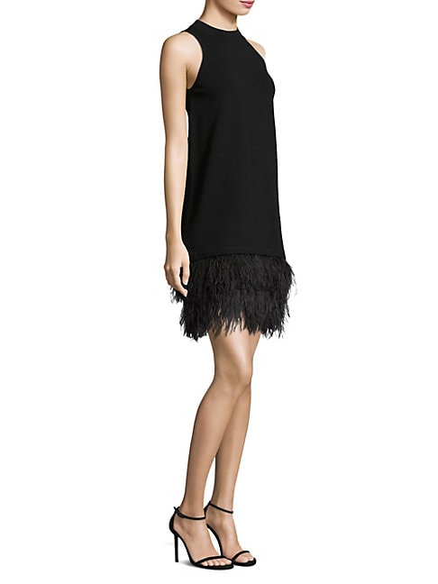 FEATHER-TRIM SHIFT DRESS