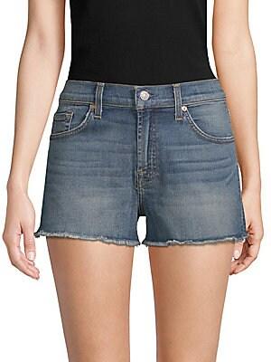 Frayed Denim Cut-Off Shorts