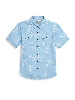 Sovereign Code - Little Boy's Anchor-Print Cotton Shirt
