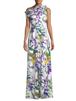 Kay Unger Printed One-Shoulder Dress