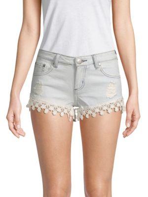 Reverse Floral Lace Denim Shorts