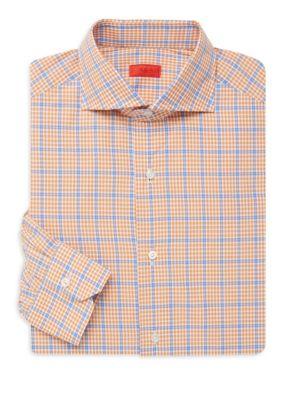 Isaia Dresses Classic Check Dress Shirt