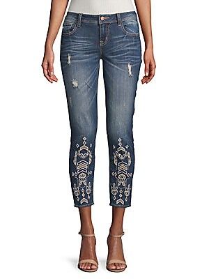 Embroidered Eyelet Ankle-Length Skinny Jeans