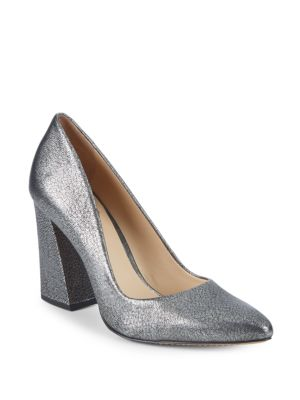 83458ceceb3 Vince Camuto Talise Leather Block Heel Pumps In Silver