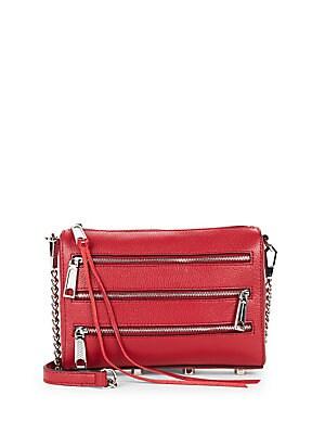 Tripple-Zipper Leather Crossbody Bag