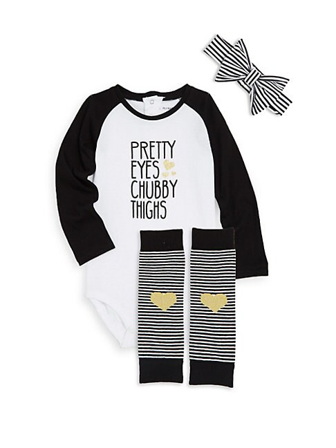 PETIT LEM | Baby Girl's Three-Piece Graphic Bodysuit, Headband and Socks Set | Goxip