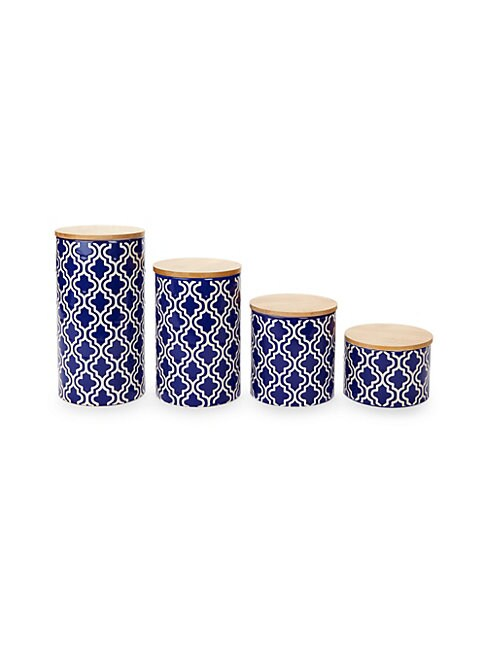 Set of Four Quatrefoil Ceramic Canisters