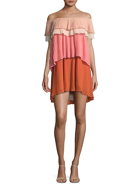 DELFI COLLECTIVE | Paige Tiered Pleated Shift Dress | Goxip