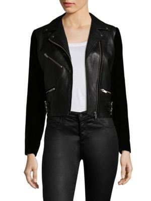 Veda Puzzle Velvet and Leather Jacket