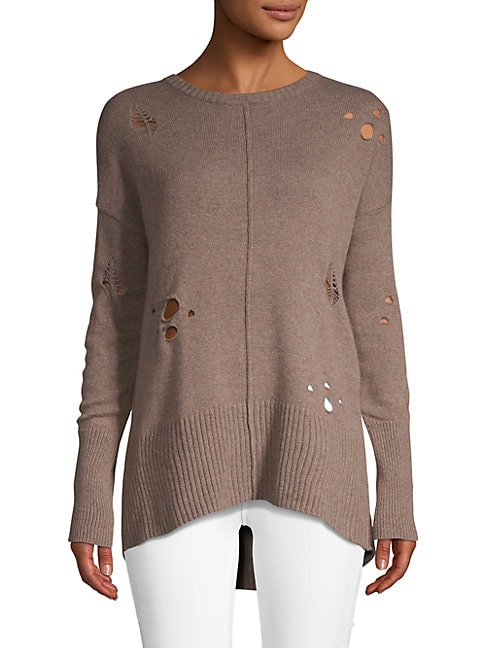 Autumn Cashmere Cashmeres Distressed Cashmere Blend High-Low Sweater