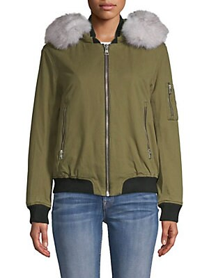 Branca Fox Fur-Trimmed Denim Bomber Jacket