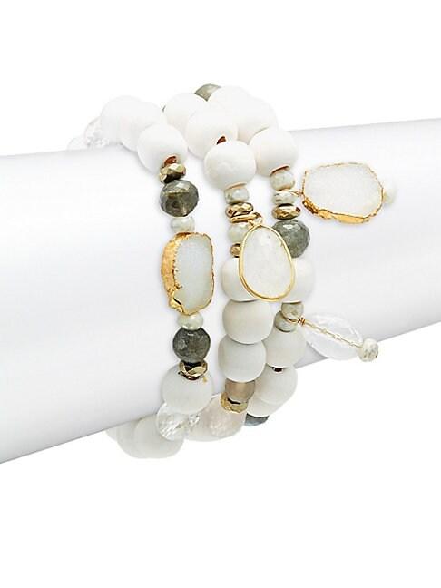 ALANNA BESS | Set of Three 17MM Freshwater Pearl Crystal Beaded Bracelets | Goxip