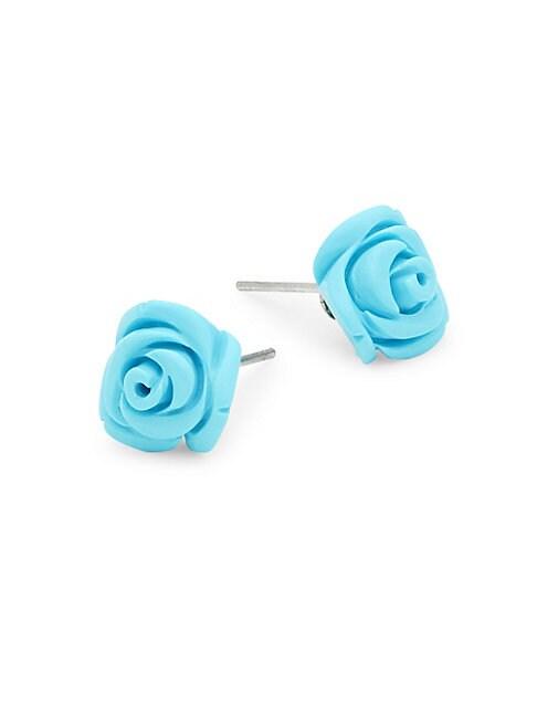 Turquoise & Sterling Silver Flower Stud Earrings