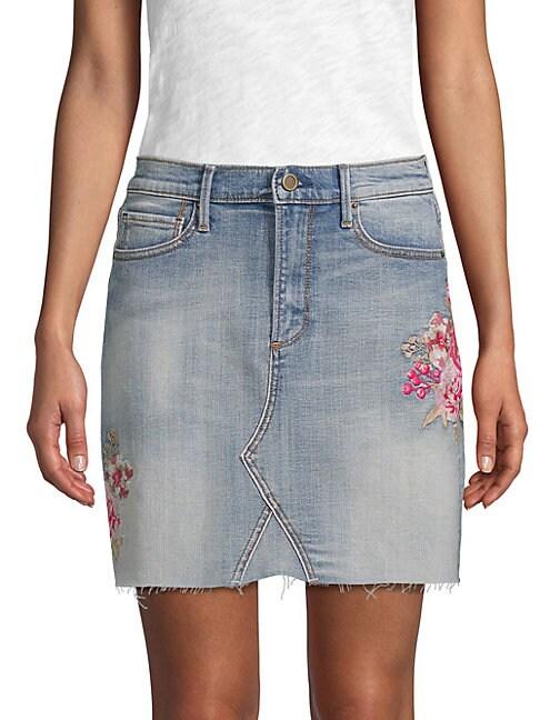 DRIFTWOOD Embroidered Denim Skirt in Light Blue