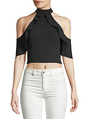 CABOT COLD-SHOULDER RUFFLE SILK TOP