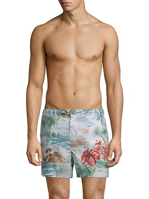 Tropical-Print Shorts