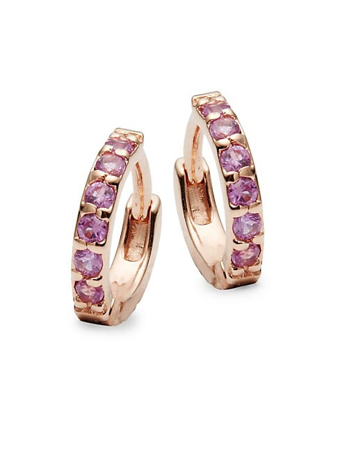 Pink Sapphire and 14K Rose Gold Huggie Earrings