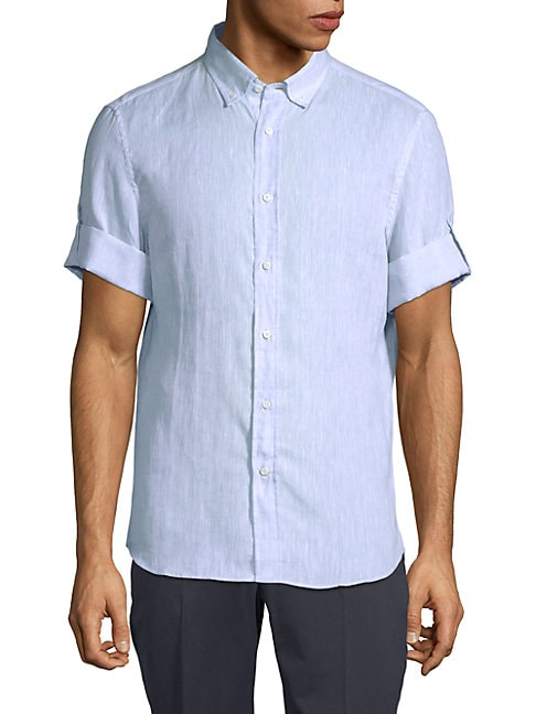 Short-Sleeve Linen Button-Down Shirt