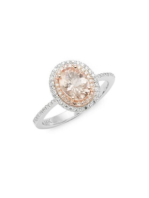 14K White & Rose Gold, Rose Quartz & Diamond Solitaire Ring