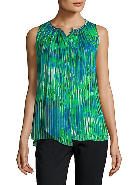 Sleeveless Pleated Floral Top