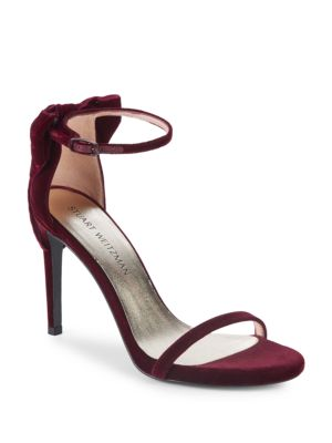 9ee09fae4236 Stuart Weitzman Mybow Suede Stiletto Sandals In Bordeaux ...