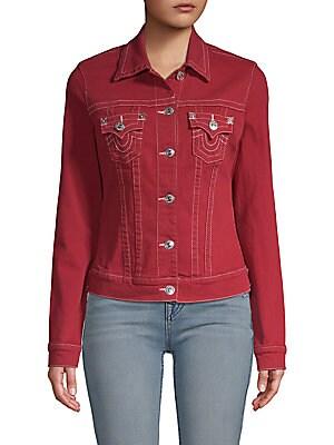 Cropped Denim Trucker Jacket, Ruby Red