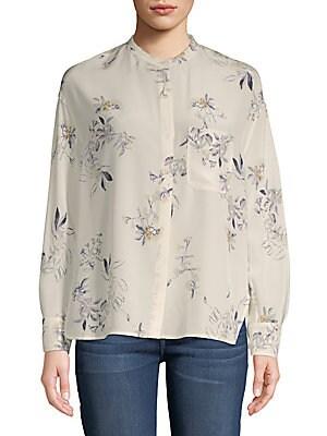 Spaced Floral Silk Button-Down Shirt