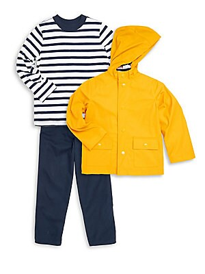 Little Boys ThreePiece Hooded Jacket Striped Cotton Top and Cotton Twill Pants Set