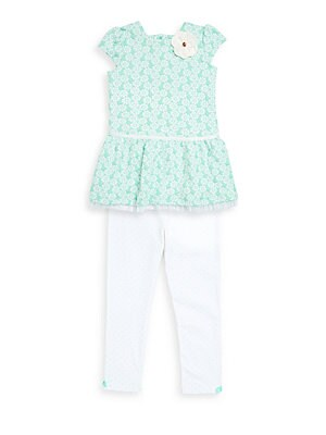 Little Girls TwoPiece Printed Dress and Dotted Leggings Set