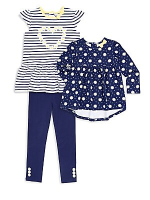 Little Girls ThreePiece Daisy Striped Tunic Floral Top and Leggings Set