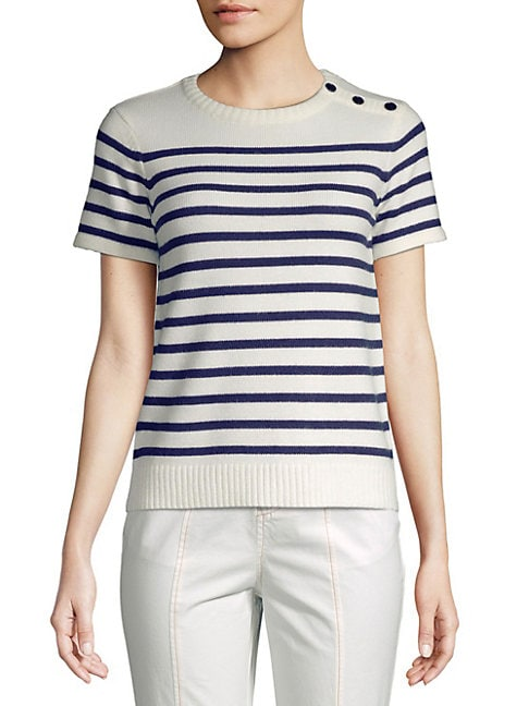 English Factory Button-Accented Striped Top