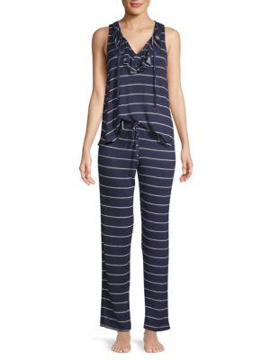 Catherine Malandrino Two-Piece Lace-Up Tank Pajama Set
