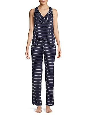 CATHERINE MALANDRINO Two-Piece Lace-Up Tank Pajama Set in Single Stripe