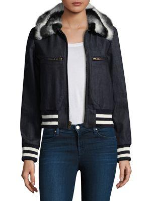 Harvey Faircloth Faux Fur-Collar Denim Bomber Jacket