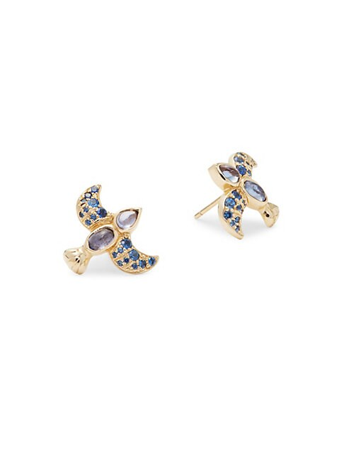 ESTATE FINE JEWELRY | Sapphire & 18K Gold Bird Stud Earrings | Goxip