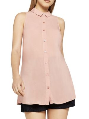 Tie-Back Button-Front Tank Top in Satin Wood