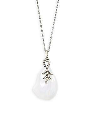 WHITE BAROQUE PEARL, DIAMOND AND 14K WHITE GOLD PENDANT NECKLACE