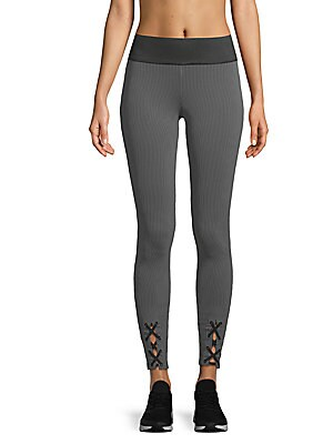 Striped Lace-Up Leggings