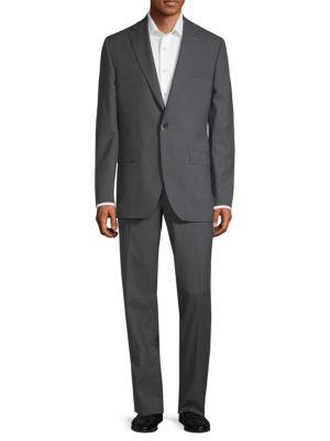 Patterned Wool Suit in Grey