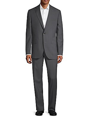 Patterned Wool Suit, Grey