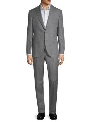 Esprit Windowpane Wool Suit in Grey