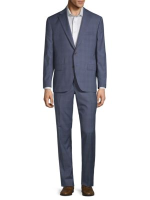 Esprit Plaid Wool Suit in Blue