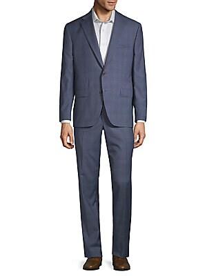 Esprit Plaid Wool Suit, Blue