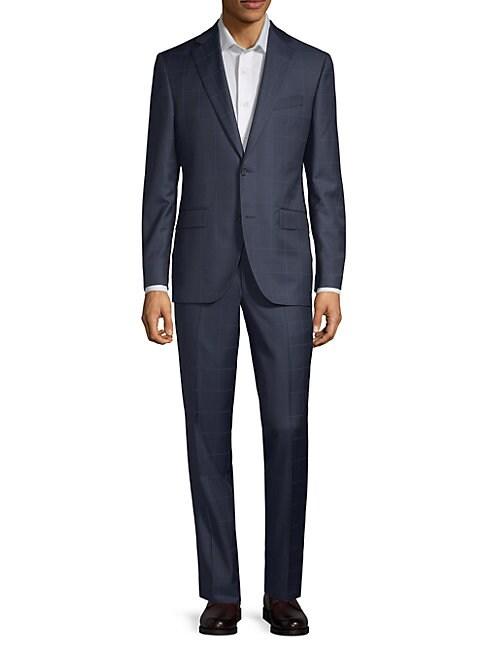 Windowpane Wool Suit, Navy