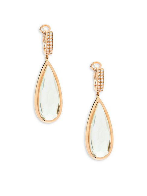 ESTATE FINE JEWELRY | OakGem 18K Rose Gold, Green Amethyst & Diamond Drop Earrings | Goxip