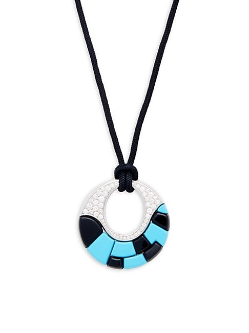 ESTATE FINE JEWELRY | Georland France Vintage Turquoise, Onyx, Diamond and 18K Gold Pendant Necklace | Goxip